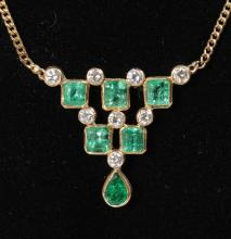 A 9CT YELLOW GOLD, DIAMOND AND EMERALD PENDANT ON CHAIN.