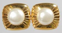 A LARGE PAIR OF CHANEL GILT AND PEARL EAR CLIPS.
