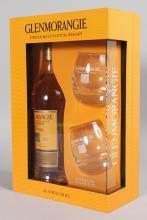 GLENMORANGIE SINGLE MALT WHISKY, 70cl bottle and two glasses.