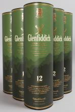 GLENFIDDICH SINGLE MALT SCOTCH WHISKY, 6 x 70cl, in tubes (6 bottles).