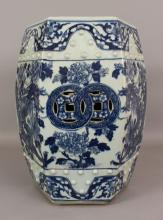 A GOOD 19TH CENTURY CHINESE BLUE & WHITE PORCELAIN GARDEN SEAT, of hexagonal section, the sides painted with dragons, moulded with studs and pierced with 'cash', the top surface similarly pierced, 18.75in(47.6cm) high.