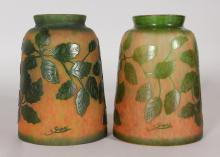 A PAIR OF GALLE CAMEO GLASS SHADES. <br>5.25ins high.  Signed Galle.