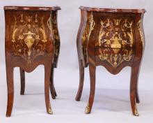 A PAIR OF LOUIS XVI STYLE KINGWOOD PETITE COMMODES, of bombe form, with marquetry inlay and ormolu mounts, the three drawers supported on cabriole legs. <br>1ft 8ins wide x 2ft 5ins high x 1ft 2ins deep.