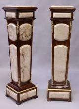 A PAIR OF LOUIS XVI STYLE KINGWOOD, MARBLE AND ORMOLU PEDESTAL STANDS, of tapering square form on a square base. <br>3ft 10ins high x 1ft 0ins wide.