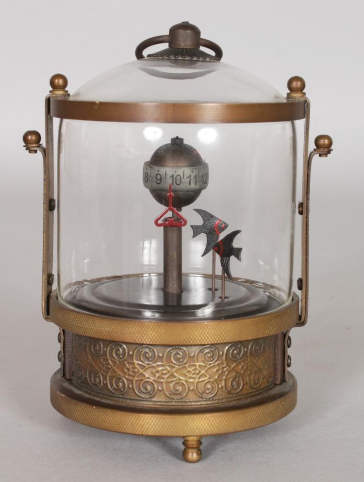 An unusual circular lantern clock with two fish as pendulum for L fish furniture