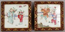 A PAIR OF LATE 19TH CENTURY LACQUER FRAMED CHINESE FAMILLE ROSE PORCELAIN TILES, each painted with a scene of two Immortals in a fenced garden setting, the frames 6in square.