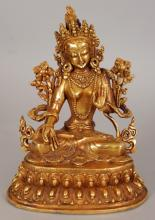 A GOOD QUALITY CHINESE GILT BRONZE FIGURE OF AMITAYUS BUDDHA, weighing 670gm, seated in dhyanasana on a double lotus plinth, his hands in vidara and vitarka mudri, the base plate incised with a double vajra, 4.2in wide & 5.4in high.