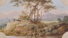 Sir Charles D'Oyly (1781-1845) British. A Banyan Tree with Cattle by a River, Watercolour and Gouache on a Victorian Mount, Shaped, 3.5