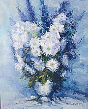 """Rene Jacque Lernon (1921- ) French. """"Le Bouquet, Blanc et Blue"""", Delphiniums and Chrysanthemums, O"""
