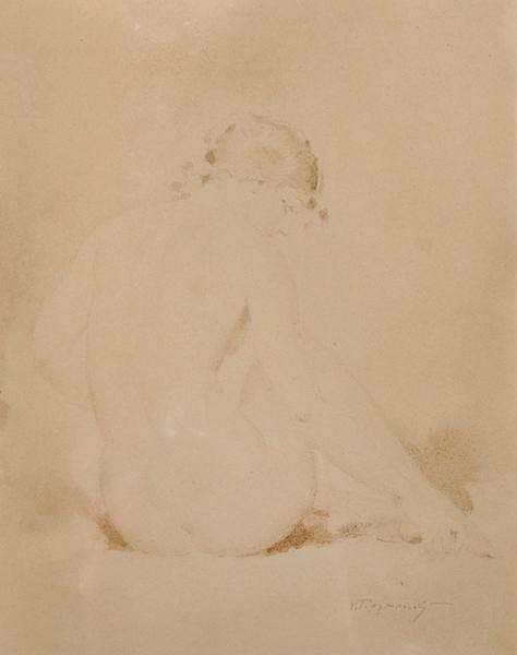 Vladimir Rozmainski (1885-1943) Russian. A Back View of a Seated Nude, Watercolour and Pencil, Signe