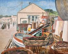 "Marjorie Mort (1906-1988) British, 'Newlyn 1959', oil on board, signed, 16"" x 20"" (41 x 51 cm)."