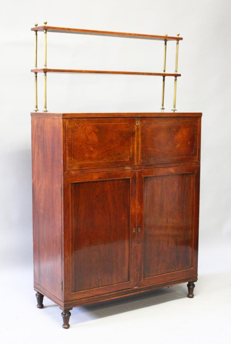 a good regency mahogany secretaire chiffonier with brass gal. Black Bedroom Furniture Sets. Home Design Ideas