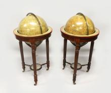 A VERY GOOD PAIR OF EIGHTEEN INCH MALBY & SONS TERRESTRIAL AND CELESTIAL GLOBES, on mahogany stands each raised on three turned and reeded supports united by spindle turned stretchers, centred by a compass and terminating in brass casters. <br>One labelled Malby's Terrestrial Globe, Compiled from the latest and most Authentic Sources including all the recent Geographical Discoveries Manufactured and Published under the superintendance of the Society for the Diffusion of Useful Knowledge by Thos. Malby & Son, Map & Globe Sellers to the Admiralty, 37 Parker Street, Little Queen Street, Holborn, London. <br>The other, Malby's Celestial Globe Exhibiting the Whole for the STARS contained in the Catalogues of Piazzi Bradley Hevelius Mayer la Calle and Johnson The Double Stars From Sir W Herschd & Strieve reduced to the year 1870 By Jrd Adfil Manufactured & Published Under The Superintendance of The Society For The Diffusion Of Useful Knowledge by Malby & Son, 37 Parley Street, Little Queen Street, Lincoln Inn Fields, London.