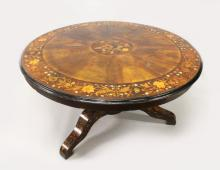 A SUPERB VICTORIAN CIRCULAR MARQUETRY TOP DINING TABLE, with segmented top, central marquetry panel and deep marquetry border on a plain centre pillar ending in tripod legs. 4ft 5in diameter 2ft 4in high