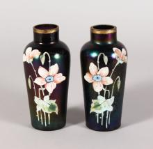 A PAIR OF LOETZ STYLE VASES, painted with narcissi 5.5in high