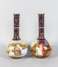 A PAIR OF LATE 19TH CENTURY DRESDEN BOTTLE VASES, each painted with theatrical scenes including Romeo and Juliet. <br>13ins high.