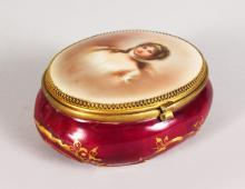 A CONTINENTAL PORCELAIN OVAL BOX AND COVER, the lid with a portrait of a lady <br>5in x 3.5in
