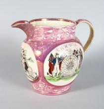 SUNDERLAND PINK LUSTRE JUG, R & H WHITE, 1838, the mariners compass and cast iron bridge Sunderland 8.5in high