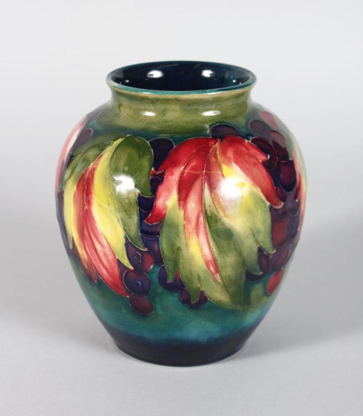 A Moorcroft Vase Grape And Leaf Design Mark In Blue 6in Hi