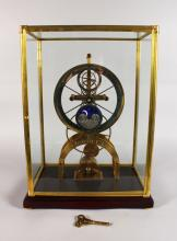 A LARGE SKELETON CLOCK, with silvered dial, subsidiary seconds dial and blue enamel moon phase movement, in a glass case. <br>1ft 9ins high.