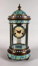 AN UNUSUAL, LARGE CHAMPLEVE ENAMEL FOUR GLASS CLOCK, of pagoda form, with decoratively painted dial, on turned feet. <br>1ft 10ins high.