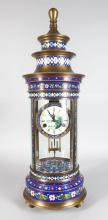 AN UNUSUAL CLOISONNE ENAMEL CLOCK, 20TH CENTURY, of pagoda form, with a painted dial, 2ft 8in high