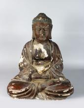 A LARGE EARLY CHINESE CARVED WOOD SEATED BUDDAH 2ft 3in high