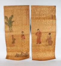 TWO CHINESE SCROLL PICTURES, decorated with figures. <br>3ft 3ins long.