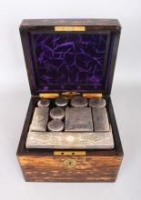 A GOOD VICTORIAN COROMANDEL FITTED VANITY BOX. <br>8ins.