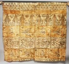 A TONGAN ROYAL TAPA., made in honour of The Coronation of Queen Elizabeth.  The writing and motifs on the cloth make a reference to The Royal Palace in Nuku'alofa. <br>6ft 6ins x 7ft 0ins.