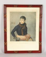 A LARGE COLOURED ENGRAVING OF NAPOLEON BONAPART,  A Appiani pinx, F Bartolozzi, Image 13in x 11in, framed and glazed