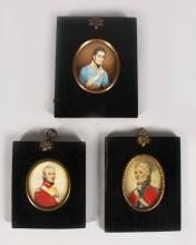 THREE MILITARY PORTRAITS MINIATURES, One possibly being Capt. William Crokat, stationed on St Helena during Napoleon's death (See a St Helena Who's Who by Arnold Chaplin pages 68 & 73).
