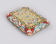 A GOOD RUSSIAN SILVER AND ENAMEL CIGARETTE CASE, with floral enamel decoration. <br>4.5ins x 3.25ins.
