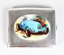 A SILVER CIGARETTE CASE, Chester 1924, the lid with an enamel depicting a Bugati car