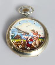 A LARGE EROTIC POCKET WATCH. <br>2.5ins diameter.