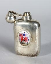 A MINIATURE SILVER HIP FLASK, with later applied enamel of a huntsman on horseback. <br>3ins high.