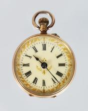 A LADIES 14K ENGRAVED FOB WATCH