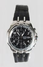A PULSAR STAINLESS STEEL WRIST WATCH, with leather strap