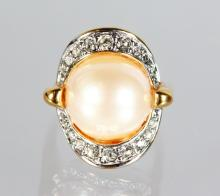 A GOOD 18ct GOLD PEARL AND DIAMOND RING