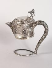 A VICTORIAN SILVER CLARET JUG HANDLE AND MOUNT, London, 1865