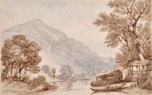 Circle of Thomas Sunderland (1744-1823) British, Wohlensee (Lake Wohlen), Canton Berne, Switzerland, pen & bro