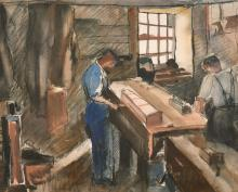 """Evelyne Oughtred Buchanan (1883-1978) 'The Carpenters Shop, Isle Of Man', watercolour, signed, 13.5"""" x 16.5""""."""