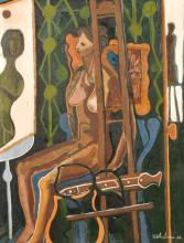 Ray Ambrose (1926-1989) British, 'Girl in a Studio', A female nude in the artist's studio, oil on board, signe