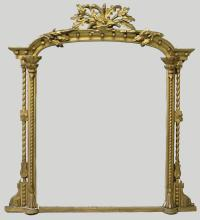 A LARGE VICTORIAN GILDED OVERMANTLE MIRROR, the centre with acorn and oak leaves, with column sides. <br>4ft 6ins high, 4ft 2ins wide.