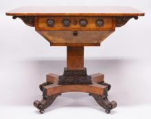 A SUPERB 19TH CENTURY POLLARD OAK SEWING TABLE, stamped T. WILLSON, 68 GREAT QUEENS STREET, LONDON, with plain top, one long drawer, sewing well below, on a centre pillar with platform base and curving legs with castors. <br>3ft wide, 2ft 6ins high.