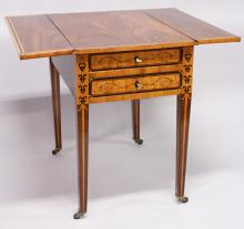 A RARE EARLY 19TH CENTURY RUSSIAN MAHOGANY DROP FLAP TABLE with inlaid edges and fitted with two satinwood fronted drawers with keys with the Russian Eagle and supported on tapering legs with castors. <br>3ft extended.