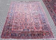 A GOOD LARGE HAMADAN CARPET, rust ground with all-over stylised floral decoration. <br>12ft 3ins x 8ft 11ins.