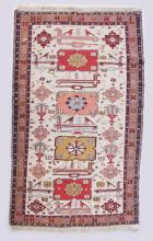 A GOOD PERSIAN KELIM RUG, 20TH CENTURY, cream ground with stylised bird and animal motifs. <br>6ft 8ins x 4ft 2ins.