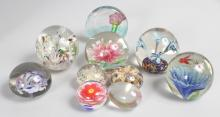 A SMALL COLLECTION OF TEN VARIOUS PAPERWEIGHTS.