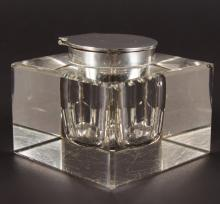 A SILVER TOP SQUARE GLASS INKWELL. <br>Birmingham 1911.